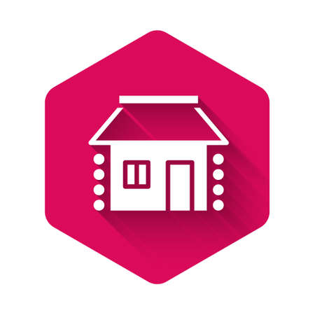 White Old Ukrainian house hut icon isolated with long shadow. Traditional village house. Pink hexagon button. Vector