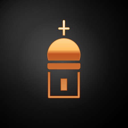 Gold Christian church tower icon isolated on black background. Religion of church. Vector