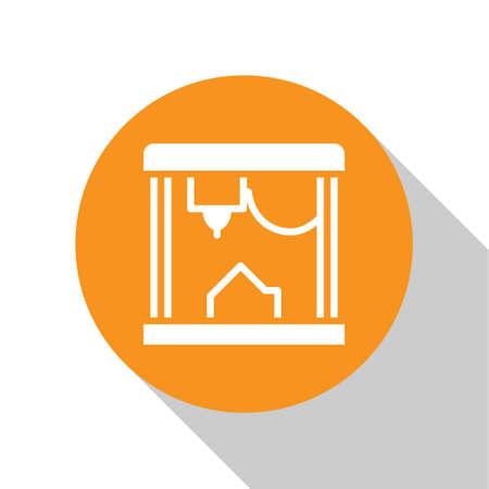 White 3D printer icon isolated on white background. Orange circle button. Vector Ilustração