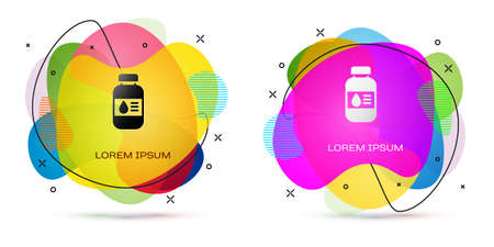 Color Printer ink bottle icon isolated on white background. Abstract banner with liquid shapes. Vector