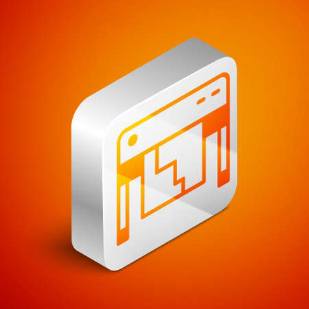 Isometric Plotter icon isolated on orange background. Large format multifunction printer. Polygraphy, printshop service. Silver square button. Vector Vettoriali