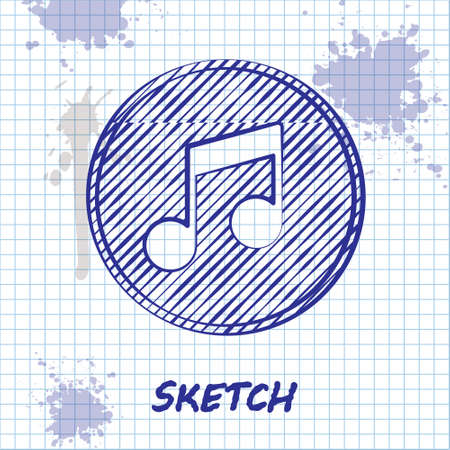 Sketch line Music note, tone icon isolated on white background. Vector Illusztráció