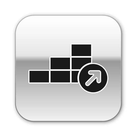 Black Financial growth icon isolated on white background. Increasing revenue. Silver square button. Vector