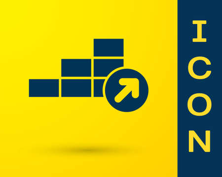 Blue Financial growth icon isolated on yellow background. Increasing revenue. Vector