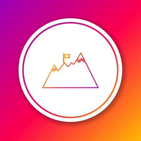 Color line Mountains with flag on top icon isolated on color background. Symbol of victory or success concept. Goal achievement. Circle white button. Vector 向量圖像
