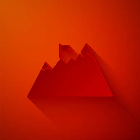 Paper cut Mountains with flag on top icon isolated on red background. Symbol of victory or success concept. Goal achievement. Paper art style. Vector