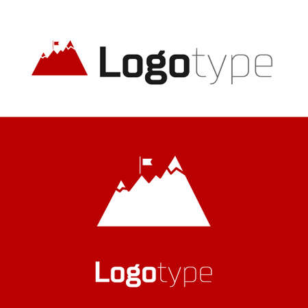 Red Mountains with flag on top icon isolated on white background. Symbol of victory or success concept. Goal achievement. design template element. Vector 向量圖像