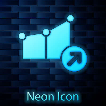 Glowing neon Financial growth icon isolated on brick wall background. Increasing revenue. Vector