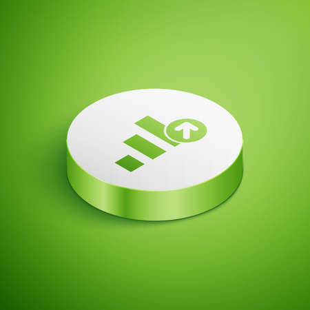 Isometric Financial growth icon isolated on green background. Increasing revenue. White circle button. Vector