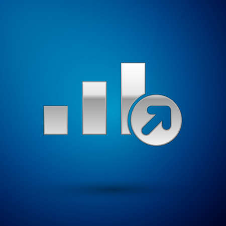 Silver Financial growth icon isolated on blue background. Increasing revenue. Vector