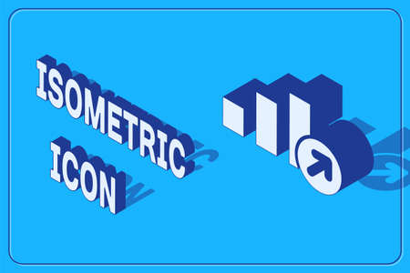 Isometric Financial growth icon isolated on blue background. Increasing revenue. Vector. Иллюстрация