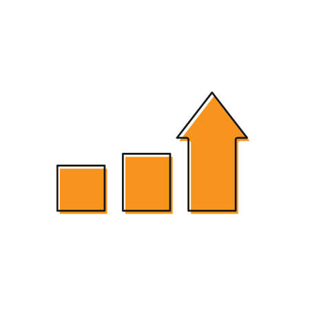 Orange Financial growth icon isolated on white background. Increasing revenue. Vector.