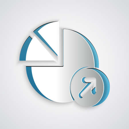Paper cut Financial growth icon isolated on grey background. Increasing revenue. Paper art style. Vector Иллюстрация