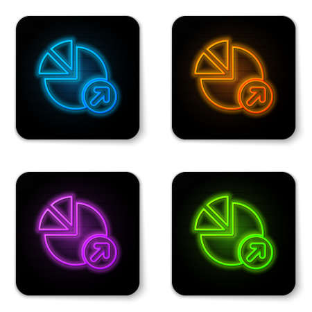 Glowing neon Financial growth icon isolated on white background. Increasing revenue. Black square button. Vector Иллюстрация