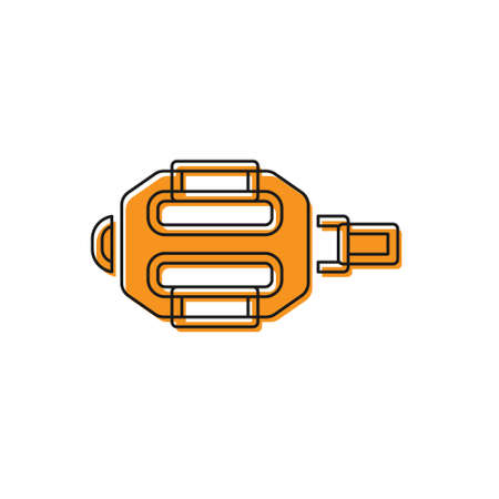 Orange Bicycle pedal icon isolated on white background. Vector