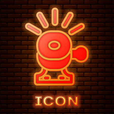 Glowing neon Bicycle bell icon isolated on brick wall background. Vector Stock Illustratie