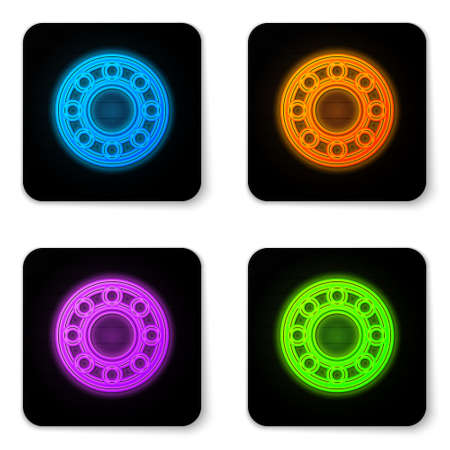 Glowing neon Bicycle ball bearing icon isolated on white background. Black square button. Vector