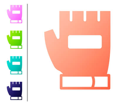 Coral Gloves icon isolated on white background. Extreme sport. Sport equipment. Set color icons. Vector