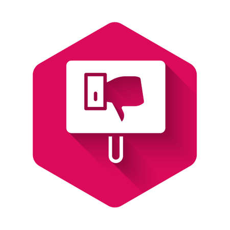 White Protest icon isolated with long shadow. Meeting, protester, picket, speech, banner, protest placard, petition, leader, leaflet. Pink hexagon button. Vector Çizim