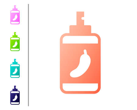 Coral Pepper spray icon isolated on white background. OC gas. Capsicum self defense aerosol. Set color icons. Vector