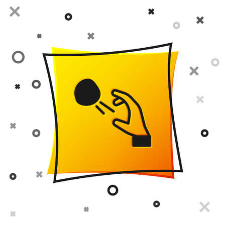 Black Hooligan shooting small stones icon isolated on white background. Demonstrator. Yellow square button. Vector Çizim