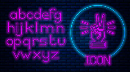 Glowing neon Hand showing two finger icon isolated on brick wall background. Victory hand sign. Neon light alphabet. Vector
