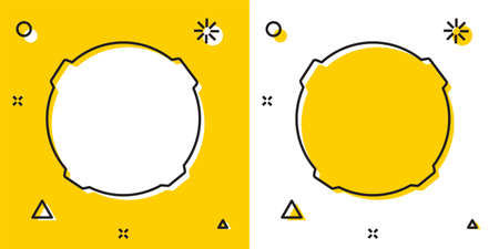 Black Moon icon isolated on yellow and white background. Random dynamic shapes. Vector Illustration