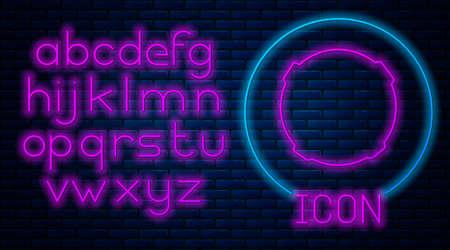 Glowing neon Moon icon isolated on brick wall background. Neon light alphabet. Vector Illustration