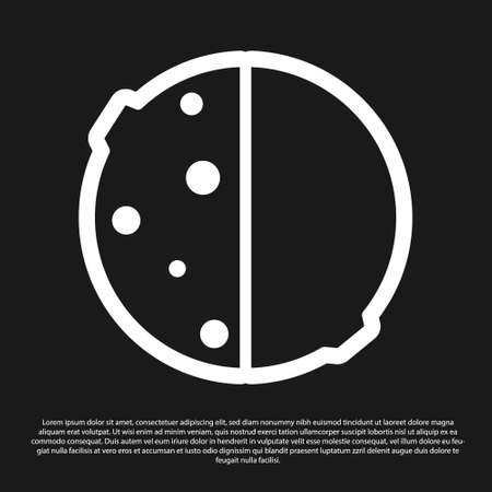 Black Eclipse of the sun icon isolated on black background. Total sonar eclipse. Vector Illustration
