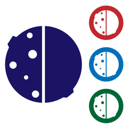 Blue Eclipse of the sun icon isolated on white background. Total sonar eclipse. Set icons in color square buttons. Vector Illustration