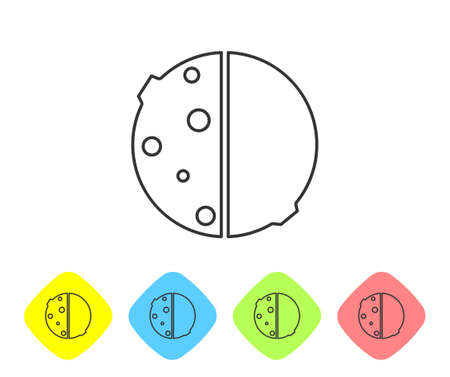 Grey line Eclipse of the sun icon isolated on white background. Total sonar eclipse. Set icons in color rhombus buttons. Vector Illustration