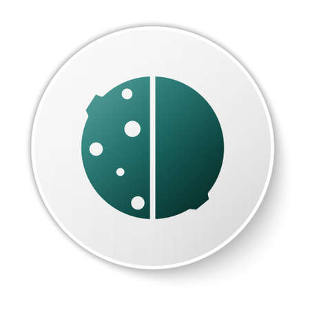 Green Eclipse of the sun icon isolated on white background. Total sonar eclipse. White circle button. Vector Illustration