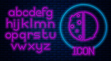 Glowing neon Eclipse of the sun icon isolated on brick wall background. Total sonar eclipse. Neon light alphabet. Vector Illustration