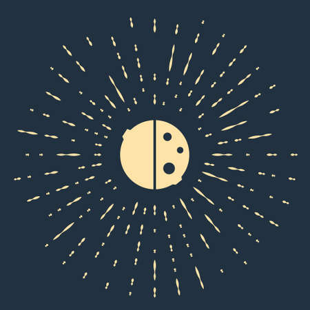 Beige Eclipse of the sun icon isolated on blue background. Total sonar eclipse. Abstract circle random dots. Vector Illustration 向量圖像