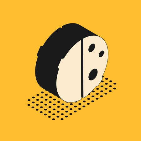 Isometric Eclipse of the sun icon isolated on yellow background. Total sonar eclipse. Vector Illustration 向量圖像