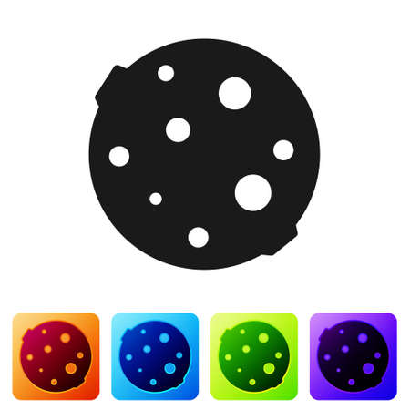 Black Moon icon isolated on white background. Set icons in color square buttons. Vector Illustration