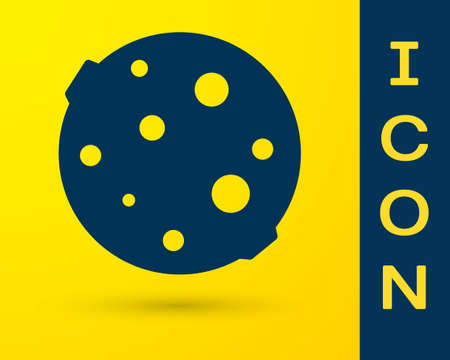 Blue Moon icon isolated on yellow background. Vector Illustration