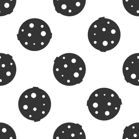 Grey Moon icon isolated seamless pattern on white background. Vector Illustration