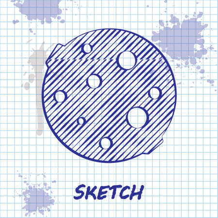 Sketch line Moon icon isolated on white background. Vector Illustration