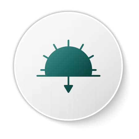 Green Sunset icon isolated on white background. White circle button. Vector Illustration 向量圖像