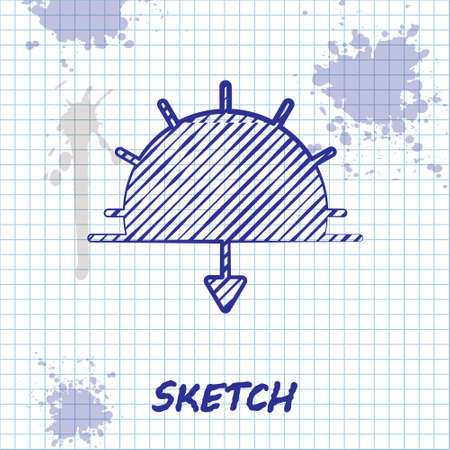 Sketch line Sunset icon isolated on white background. Vector Illustration