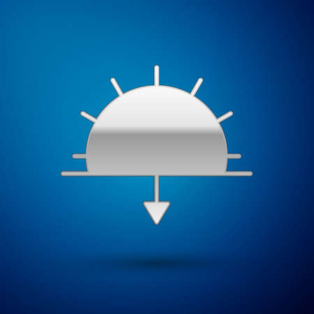 Silver Sunset icon isolated on blue background. Vector Illustration 向量圖像