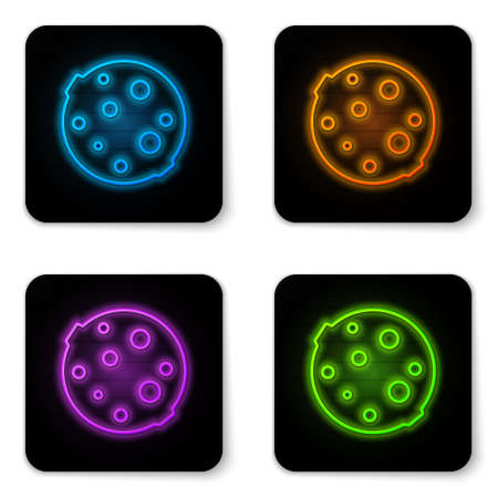 Glowing neon Moon icon isolated on white background. Black square button. Vector Illustration