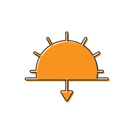 Orange Sunset icon isolated on white background. Vector Illustration 向量圖像