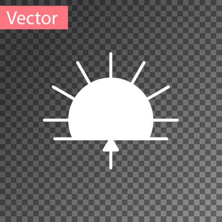 White Sunrise icon isolated on transparent background. Vector Illustration
