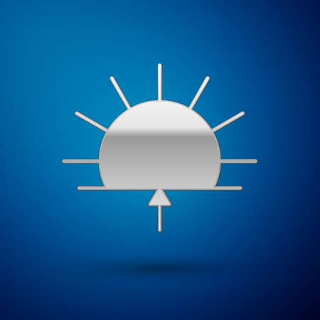 Silver Sunrise icon isolated on blue background. Vector Illustration