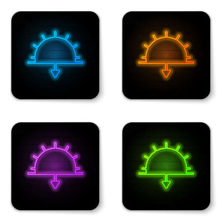 Glowing neon Sunset icon isolated on white background. Black square button. Vector Illustration