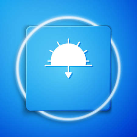 White Sunset icon isolated on blue background. Blue square button. Vector Illustration