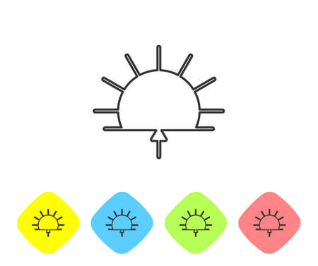 Grey line Sunrise icon isolated on white background. Set icons in color rhombus buttons. Vector Illustration