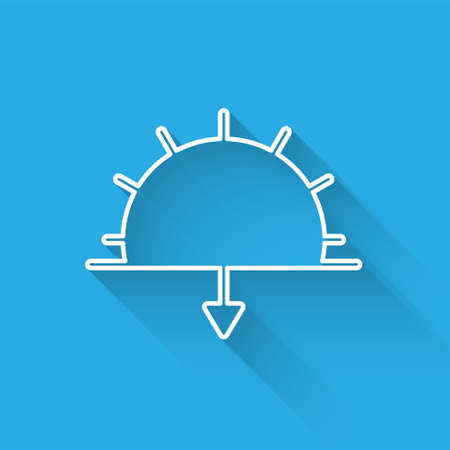 White line Sunset icon isolated with long shadow. Vector Illustration